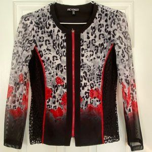 Picadilly Red & Black Leopard Print Zipped…